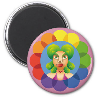 Pretty feminine face 2 inch round magnet