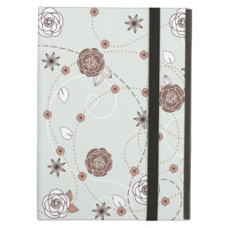 Pretty Feminine Floral Pattern in Green and Brown iPad Air Cover