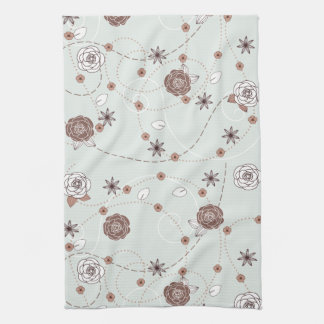 Pretty Feminine Floral Pattern in Green and Brown Kitchen Towel