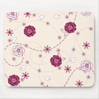 Pretty Feminine Floral Pattern Mouse Pad