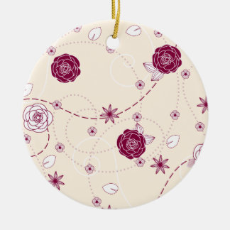 Pretty Feminine Floral Pattern Christmas Ornament