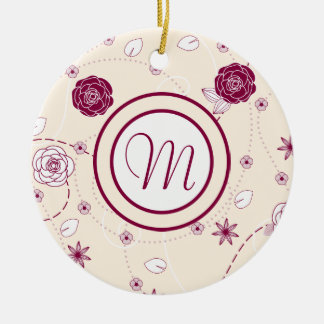Pretty Feminine Floral Pattern with Monogram Christmas Tree Ornament