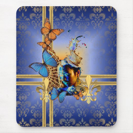 Pretty feminine girly design and butterflies mouse pad