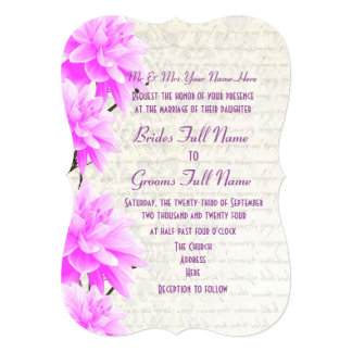 Pretty feminine mauve and pink floral wedding card