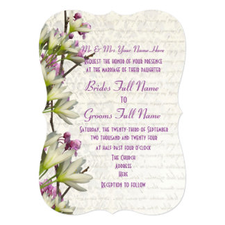 Pretty feminine mauve and white floral wedding card