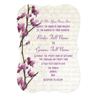 Pretty feminine mauve floral wedding card