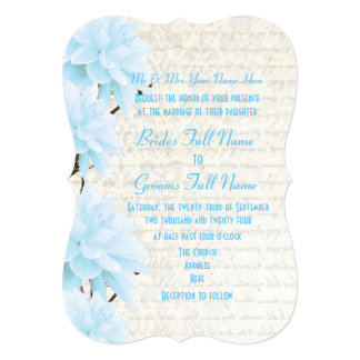 Pretty feminine pale pastel blue floral wedding card