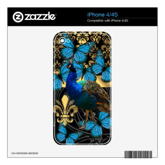Pretty feminine peacock design iPhone 4 decal