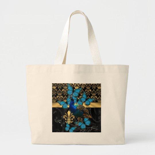 Pretty feminine peacock design large tote bag