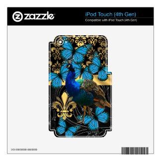 Pretty feminine peacock design skin for iPod touch 4G
