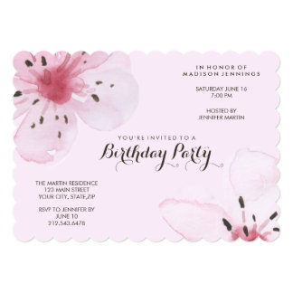Pretty Feminine Pink Cherry Blossom Birthday Party Card