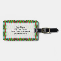 Pretty festive red green pattern bag tags