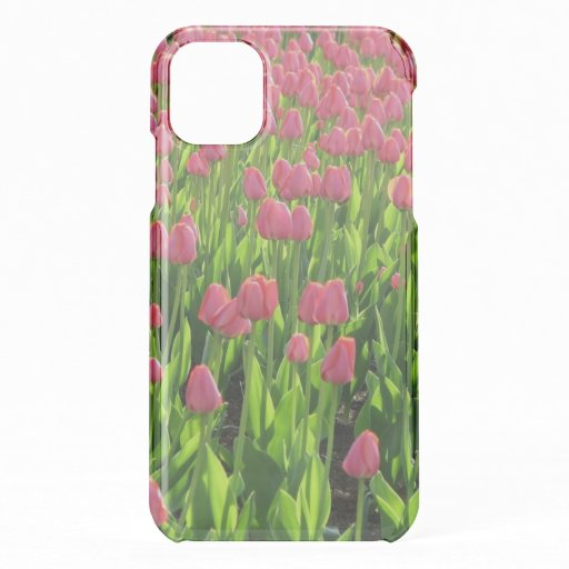 Pretty Field of Pink Tulips iPhone 11 Case
