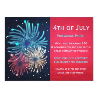 Pretty Fireworks 4th of July Party Invitations
