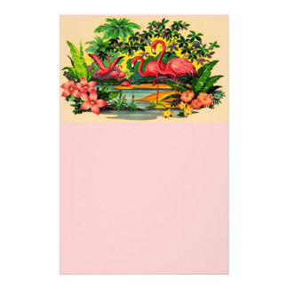 Pretty Flamingo Birds Personal Flowers Stationery