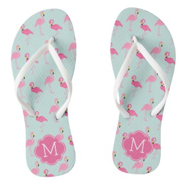 Beach Themed Pretty Flamingos Pattern Monogrammed Flip Flops