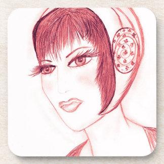 Pretty Flapper in Red Beverage Coaster