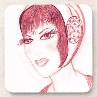 Pretty Flapper in Red Drink Coaster