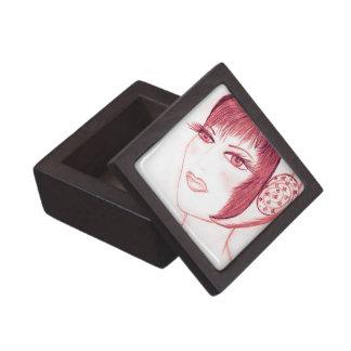 Pretty Flapper in Red Premium Jewelry Boxes