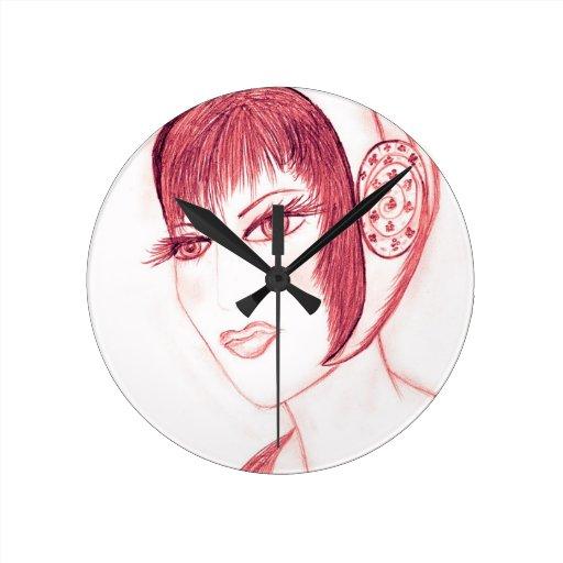 Pretty Flapper in Red Round Wall Clocks