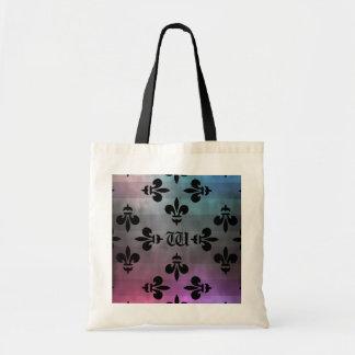 Pretty Fleur de lis pattern monogrammed Budget Tote Bag