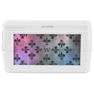 Pretty Fleur de lis pattern monogrammed Ice Chest