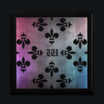 """Pretty Fleur De Lis pattern monogrammed Jewelry Box<br><div class=""""desc"""">A very pretty medieval black Fleur De Lis pattern on a grungy striped background of gray,  pink,  blue,  and purple. Shown here on an elegant trinket or gift box. Add your initial to it.</div>"""