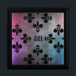 "Pretty Fleur De Lis pattern monogrammed Jewelry Box<br><div class=""desc"">A very pretty medieval black Fleur De Lis pattern on a grungy striped background of gray,  pink,  blue,  and purple. Shown here on an elegant trinket or gift box. Add your initial to it.</div>"