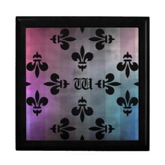 Pretty Fleur de lis pattern monogrammed Jewelry Box