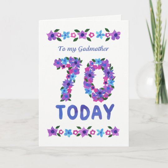 Pretty Floral 70th Birthday For Godmother Card