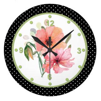 Pretty Floral and Polka Dot Wall Clock