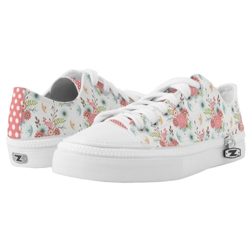pretty floral and polka dot zipz tennis shoes zazzle