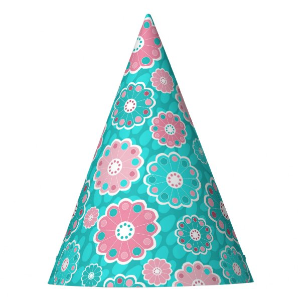 Pretty floral aqua and pink girly party hat
