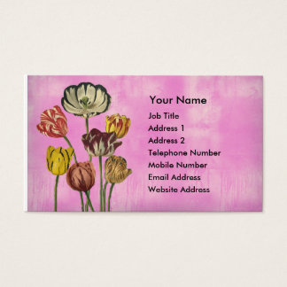 Pretty floral art on pink wash background business card