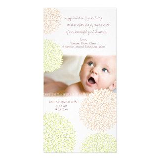 Pretty Floral Baby Birth Thank You Photo Card