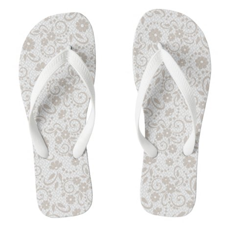 Pretty floral beige and white flip flops