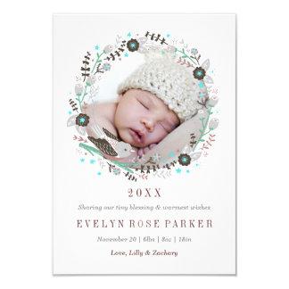 Pretty Floral Bird Wreath Birth Announcement