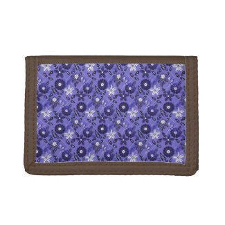 Pretty Floral Blue Trifold Wallet