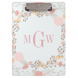 Pretty Floral Botanical Monogram Clipboard