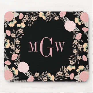Pretty Floral Botanical Monogram Mousepad