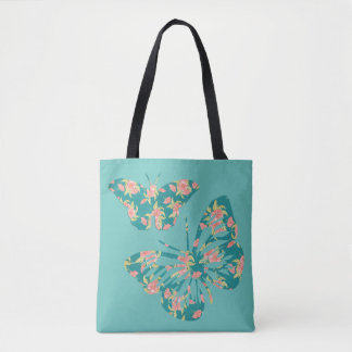 Pretty Floral Butterflies Tote Bag