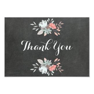 Pretty Floral Chalkboard Flat Thank You Card
