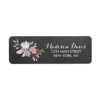 Pretty Floral Chalkboard Wedding Address Labels