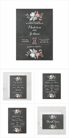 Pretty Floral Chalkboard Wedding Invitation Suite