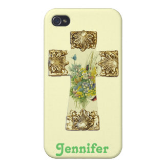Pretty Floral Cross iphone 4 Case