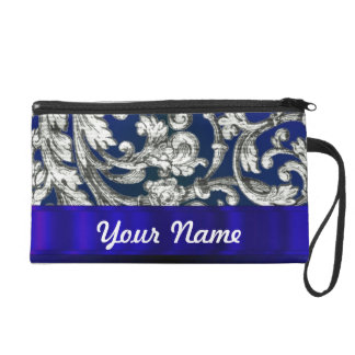 Pretty floral damask on blue wristlet purses