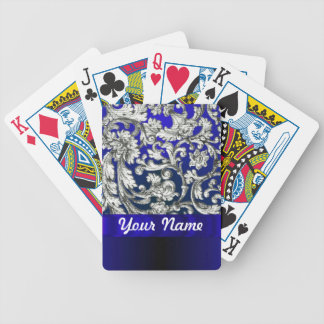 Pretty floral damask on blue bicycle playing cards