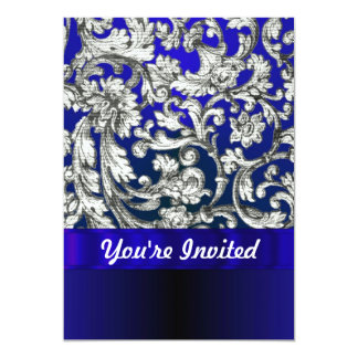 Pretty floral damask on blue card