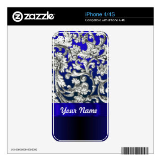 Pretty floral damask on blue decal for the iPhone 4