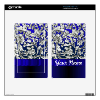 Pretty floral damask on blue decals for kindle fire